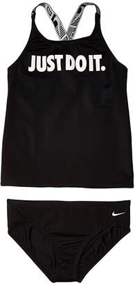 Nike Kids JDI Cross-Back Tankini (Little Kids/Big Kids) (Black) Girl's Swimwear Sets