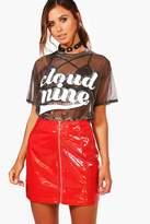 boohoo Petite Marissa Vinyl Zip Front Mini Skirt