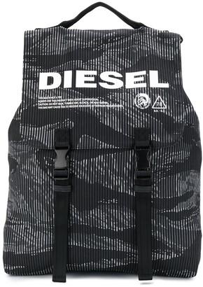 Diesel striped camo denim buckled backpack