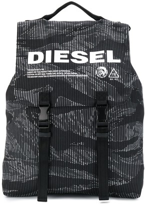 Diesel Striped Camo Denim Buckled Backpack