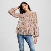 Xhilaration Women's Mixed Print Long-Sleeve Woven Blush Juniors')