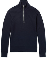 Tom Ford Ribbed Wool And Cashmere-blend Half-zip Sweater - Navy