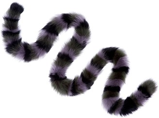 CHARLOTTE SIMONE Khaki Twist Genuine Fox Fur Scarf