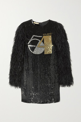 Michael Kors Feather-trimmed Sequined Silk-georgette Mini Dress - Black
