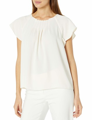 Anne Klein Women's Pleat Front Short Sleeve Blouse