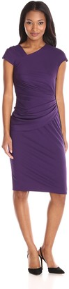 Anne Klein Women's Asymmetrical Drape Dress with Exposed Side Zipper