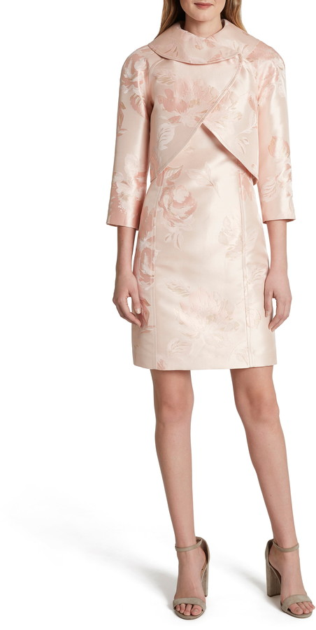 Tahari Floral Jacquard Sheath Dress & Jacket