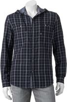 Rock & Republic Big & Tall Classic-Fit Plaid Roll-Tab Hooded Button-Down Shirt