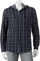 Rock & Republic Big & Tall Classic-Fit Plaid Roll-Tab Hooded Button-Down Shirt