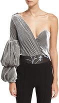 Johanna Ortiz Jude One-Shoulder Velvet Bodysuit