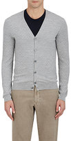 Zanone MEN'S PUCKERED WOOL-BLEND V-NECK CARDIGAN