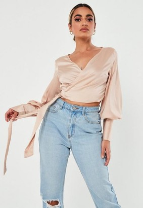 Missguided Stone Satin Wrap Front Blouse