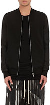Rick Owens Men's Cotton & Leather Bomber Sweatshirt-BLACK
