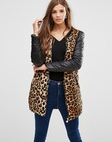 Girls On Film Leopard Jacket With Contrast Sleeves