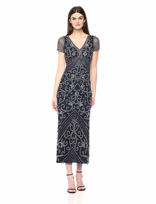 Pisarro Nights Women's Long v-Neck Dress with Beaded Motif