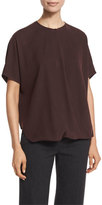 Vince Short-Sleeve Wrap-Front Silk Top