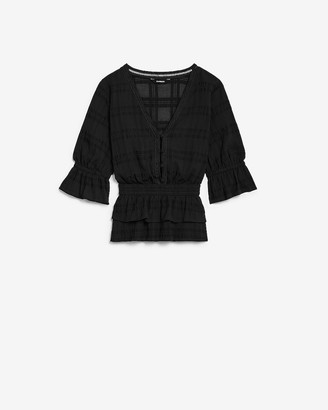 Express Smocked Tiered Ruffle Blouse