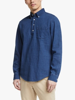 John Lewis & Partners Cotton Linen Twill Popover Shirt, Indigo