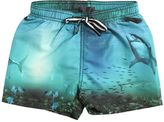 Molo Shark Print Nylon Swim Shorts
