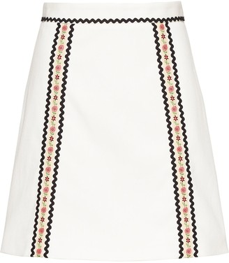 Miu Miu Floral Trim Denim Mini Skirt