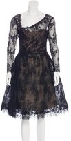 Monique Lhuillier Lace Long Sleeve Dress