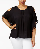 Melissa McCarthy Trendy Plus Size Cold-Shoulder Top