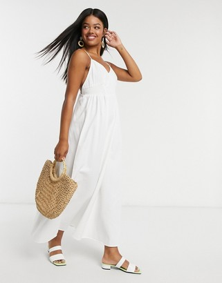 ASOS DESIGN soft denim shirred waist v neck slip maxi dress