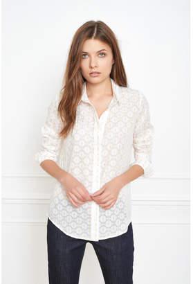 MKT Studio White Gold Lurex Chokini Shirt - 40 - Gold/White