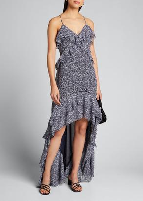 Jonathan Simkhai Silvia Floral Print Crinkled Chiffon High-Low Gown