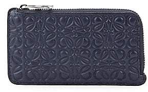 Loewe Men's Engraved Leather Zip Card Holder