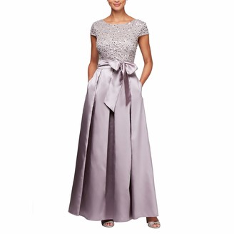 Alex Evenings Women's Lace and Satin Ballgown Dress with Sleeve