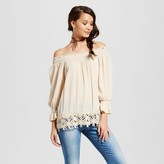 Hint of Mint Women's Crochet Hem Off the Shoulder Tunic Top - Hint of Mint (Juniors') Cream