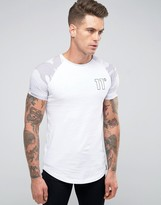 11 Degrees Raglan T-shirt With Camo Print Sleeves
