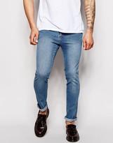 Dr Denim Jeans Snap Skinny Fit Light Stone Destroyed Wash - Black
