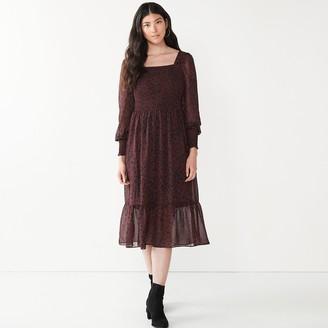 Nine West Women's Long Sleeve Squareneck Dress