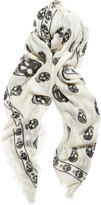 Skull-print modal and cashmere-blend scarf