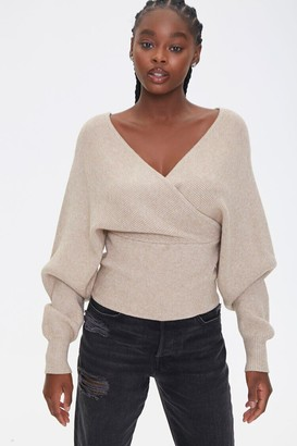Forever 21 Ribbed Surplice Batwing Sweater