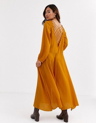 Free People Later Days strappy back midi dress-Orange