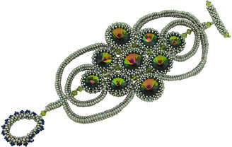 One Kings Lane Vintage Glass Bead & Rhinestone Woven Bracelet - Thanks for the Memories