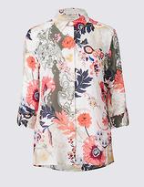 Classic Cotton & Silk Blend Floral Print Shirt