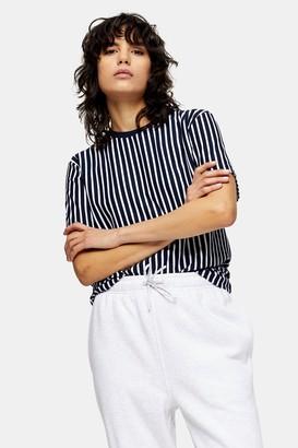 Topman Womens Navy And White Vertical Stripe T-Shirt - Navy Blue