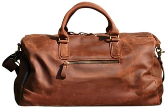 Touri Genuine Leather Gym Bag With Shoe Storage In Russet Brown