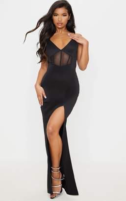 PrettyLittleThing Black Strappy Mesh Binding Insert Split Detail Maxi Dress