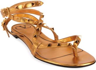 Valentino Garavani Metallic Rockstud Flat Sandals