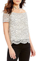 WAYF Ranger Off-The-Shouler Short Sleeve Lace Top