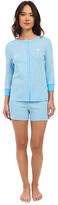 Lauren Ralph Lauren Striped 3/4 Sleeve Henley Boxer Pajama Set