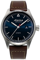 Alpina Al-525n4s6 Startimer Pilot Leather Strap Watch, Brown/navy