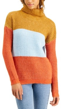 Planet Gold Juniors' Colorblocked Turtleneck Sweater