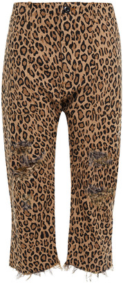 R 13 Cropped Distressed Leopard-print Straight-leg Jeans