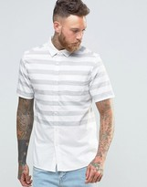 Asos Skinny Oxford Shirt With Engineered Stripe In Short Sleeve